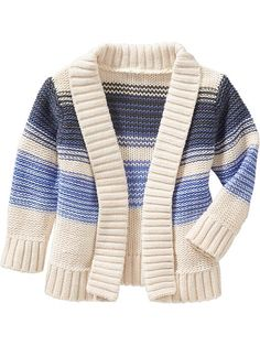blue cream Striped Open-Front Cardigans for Baby Product Image