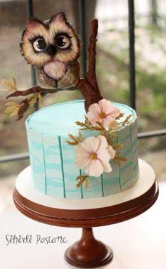 Owl Cake by Sihirli Pastane