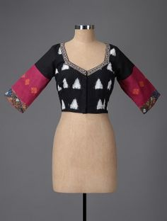 Black-Pink Hand-painted Kalamkari Ikat Cotton Blouse with Embroidery