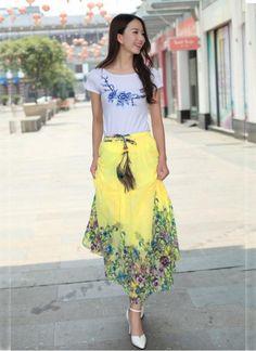 New Designer Yellow colour Western Tops, Ethnic Wear Designer, Yellow Print, One Piece Dress, Lehenga Choli, Printed Skirts, Lace Skirt, Designer Skirts, High Waisted Skirt