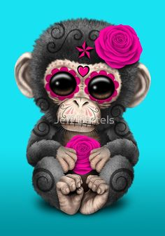 Pink Day of the Dead Sugar Skull Baby Chimp
