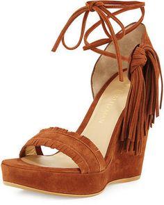 Stuart Weitzman Pompom Fringe Ankle-Tie Wedge Sandal - $333.00