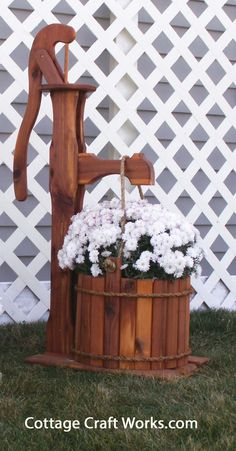 Ornamental Cedar Pump Yard & Garden Planter