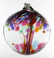 Kitras glass art hanging Tree of Enchantment Ball Ornaments are a colorful work of hand blown glass art.  They make unique wedding, anniversary, graduation, mothers day and birthday gifts for your home decor both inside and outside