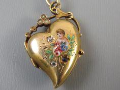Antique Georgian 14k gold witches heart enamel cherub angel flowers diamond sapphire locket charm pendant
