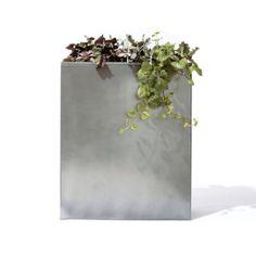 titan galvanized planter with insert in outdoor   CB2