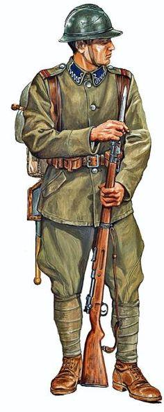 Kapral piechoty polskiej w mundurze z 1919 roku. Uzbrojony w karabin Mauser wz. 1898