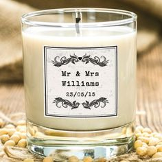 Personalised Vintage Scented Candle - Mr and Mrs