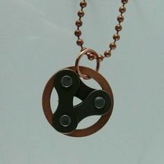 Copper circle and bicycle chain bike jewelry by WanderingJeweler, $26.00