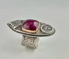 Royal Ruby Sterling and 14K Gold Ring   Shalondesigns 14k Gold Ring, Gold Rings, Gemstone Rings, Artisan Jewelry, Handmade Jewelry, Metal Jewelry, Precious Metals, Beauty, Design