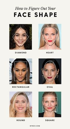 How to Figure Out Your Face Shape Once and for All via Diamond face shape Square face shape Rectangular face shape Oval face shape Circle face shape Heart face shape Haircut For Face Shape, Face Shape Hairstyles, Round Face Haircuts, Cool Haircuts, Cool Hairstyles, Hair Styles Face Shape, Shape Of Face, Square Face Hairstyles, Rectangular Face Hairstyles