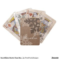 Snowflakes Rustic Faux Burlap Monogrammed Fun Bicycle Playing Cards