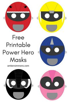 Morph into your favorite ranger with these free power hero printable masks.