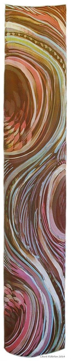Hand Painted Silk Scarf - Earth Tones in Motion - Charmeuse Silk Scarf (approx.11x60 inches) by Laura Elderton