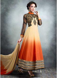Orange And Cream Shaded Georgette Anarkali Suit. Buy Designer Anarkali Suit In Suriname. http://www.angelnx.com/