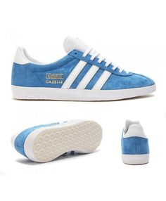 quality design 7b8d7 4e5ed Adidas Originals Gazelle Og Blue White And Gold Trainers Sale UK