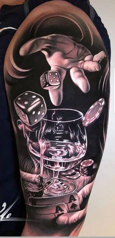 Trendy Tattoo Femininas Perna Lobo - My list of best tattoo models Best Sleeve Tattoos, Tattoo Sleeve Designs, Leg Tattoos, Body Art Tattoos, Poker Tattoos, Casino Tattoo, Vegas Tattoo, Dice Tattoo, Card Tattoo