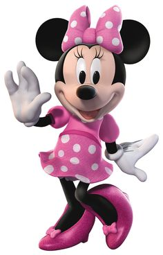 Minnie Mouse. I love the pink and white polka dot dress and bow on her!
