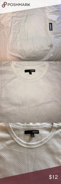 Men's Basic Mesh White Tee Mesh scalloped hem tee. Shirts Tees - Short Sleeve