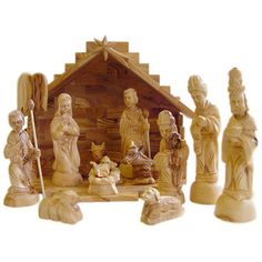 <strong>CarversArt</strong> Traditional Olive Wood Nativity Set with Stable