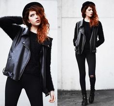 Bellevior Pu Leather Vest, Anna Xi Cut Out Boots, Monki Sweater, Motel Rocks Jeans, H&M Hat