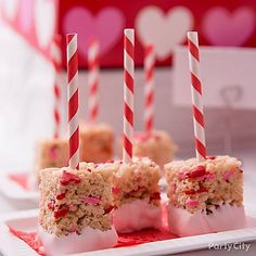 Make your favorite rice crispy treats extra sweet for Valentine's Day! Add heart sprinkles to the mix. Stick a trendy striped straw in each and dip them in pink Candy Melts®!