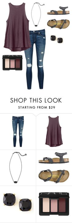 """school"" by lilyp8 on Polyvore featuring rag & bone/JEAN, RVCA, Kendra Scott, Birkenstock, Kate Spade and NARS Cosmetics"