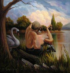 Oleg Shuplyak, Freud Voyeur, oil on cardboard, 18.5″ x 16.5″