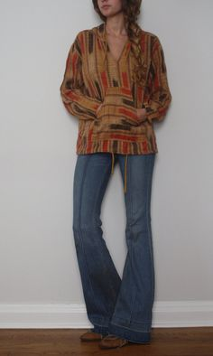 Vintage Hooded Hippie Shirt/Poncho by PastReferenceUS on Etsy