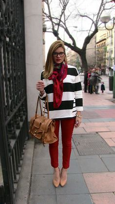 Black and White Striped Sweatshirt, Red Pants & Red Lips (by Silvia BoschBlog) http://lookbook.nu/look/4623699-Black-and-White-Striped-Sweatshirt-Red-Pants-Red-Lips
