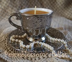 Elegant Cup and Saucer Candle in Pure beeswax