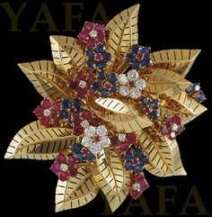 """""""VAN CLEEF & ARPELS Diamond and Gem-set Brooch A floral design, set with brilliant-cut diamonds and circular rubies and sapphires brooch with French assay, signed Van Cleef & Arpels. Country of Origin: France Year: 1950s Signed by: Van Cleef & Arpels Reference #: P2277"""" (quote) via yafajewelry.com"""