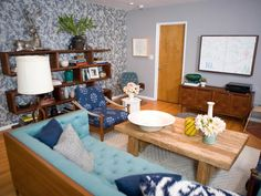 Charming Blue Living Room with Rustic Wood Table and Shelves : Designers' Portfolio : HGTV - Home & Garden Television