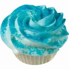 Blue Quick Color Cupcake - Adding color to your cupcakes is easy. With Wilton Color Mist or Colored Sugars, it´s easy to serve cupcakes cued to your school colors, favorite sports team or holiday décor. Wilton Cakes, Fancy Cupcakes, White Cupcakes, Baking Cupcakes, Cupcake Recipes, Cupcake Cakes, Cupcake Ideas, Cupcake Tier, Cupcake