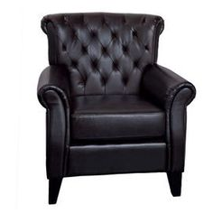 """Brimming with storied style and artful detail, this beautifully crafted design brings sumptuous comfort and timeless elegance to your home.   Product: Club chairConstruction Material: Bonded leather and woodColor: Dark brownFeatures:  Large and comfortablePerfect for any room  Dimensions: 37.8"""" H x 35.8"""" W x 36"""" D"""