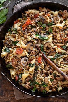 Pork Mushroom, Mushroom Pasta, Spicy Sausage, Sausage Pasta, Pork Ragu, Stuffed Mushrooms, Stuffed Peppers, Vegetable Pasta, How To Cook Pasta