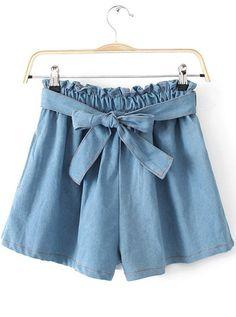 Shorts Denim lazo cintura elástica-azul claro EUR€11.88
