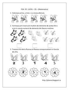 Planse de colorat si fise pentru copii: DS - FISE de lucru cu Insecte - Matematica Printable Preschool Worksheets, Kindergarten Worksheets, Worksheets For Kids, Preschool Activities, Insect Activities, Educational Activities For Kids, School Frame, Kids Schedule, Activity Sheets