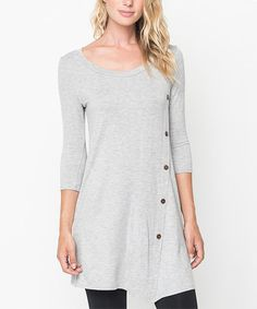 Another great find on #zulily! Heather Gray Side-Button Tunic - Women #zulilyfinds