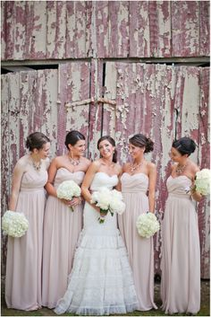blush neutral pink bridesmaids southern rustic wedding baby's breath barn reception http://byshea.zenfolio.com/ http://smitten-mag.com/a-blushing-tennessee-barn-reception/
