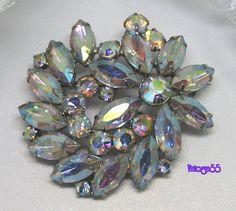 Vintage Brooch Rhinestone Weiss Aurora Borealis by Vintage55, $55.00