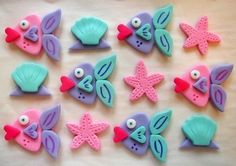 Fondant Cupcake Toppers  Kissing Fish  Edible Fish by CakesAndKids, $20.00