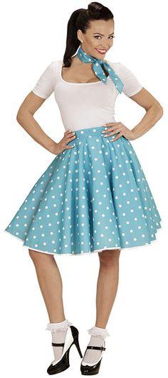 Falda de lunares años 50 color azul