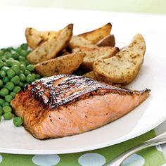 Salmon with maple-lemon glaze from Cooking Light... delicious! This so good... the sweetness of the maple with the tart lemon flavor is awesome. Plus it's healthy!