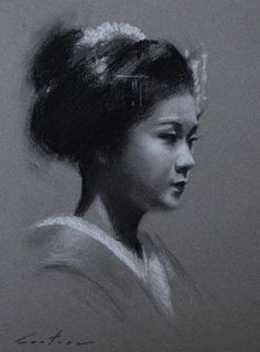 "Charcoal Study of Maiko Satohana - 9"" x 12"" original drawing on toned paper By Phil Couture"