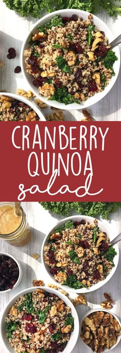 Cranberry Quinoa Salad with Kale and Walnuts: This vegan salad is packed with amazing flavors and textures, and dressed with an apple vinaigrette. Perfect Thanksgiving side dish! | thecrunchychronicles.com
