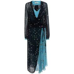 Preen Line - Kay Wrap Dress (£180) ❤ liked on Polyvore featuring dresses, sheer wrap dress, preen dress, blue wrap dress, blue sheer dress and tie waist dress