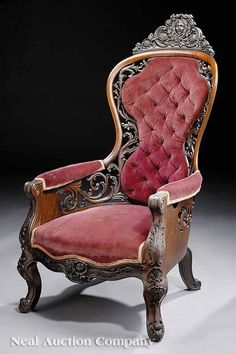A parlor chair. The Rococo Revival style again presented in room would have been considered the height of fashion in the just love the colour. Decor, Furniture Design, Furnishings, Parlor Chair, Furniture, Victorian Chair, Victorian Furniture, Vintage Furniture, Beautiful Furniture