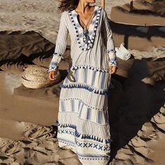 Bohemian V Neck Striped Tassel Long Sleeve Maxi Dresses – cute cruise outfits,summer vacation dressesr,beach dresses vacation,weekend dress Long Sleeve Maxi, Maxi Dress With Sleeves, Floral Maxi Dress, Best Maxi Dresses, Casual Dresses, Beach Dresses, Long Dresses, Dress Brands, Blouse