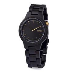"Drevené hodinky Vega ""Ebony"" Wooden Watch, Casio Watch, Watches, Accessories, Wooden Clock, Wristwatches, Clocks, Jewelry Accessories"
